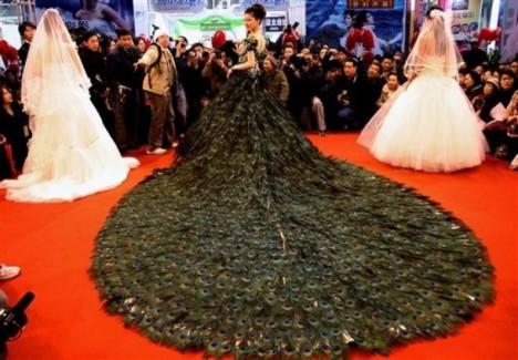Peacock feather China wedding dress