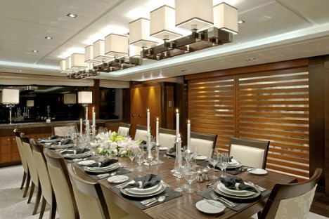 Solemates yacht dining area