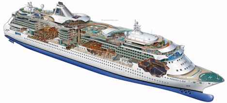 Radiance of the Seas Cutaway Illustration