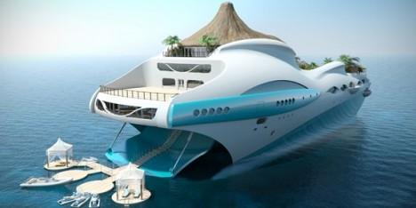 Tropical Island Paradise yacht back