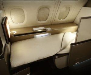 Lufthansa windowside bed First Class
