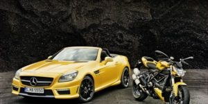 Mercedes SLK 55 AMG and Ducati Streetfighter 848