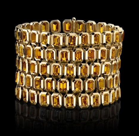 The Style of Jolie Citrine Five Row Tablet Bracelet
