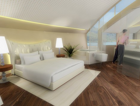 solar floating resort bedroom