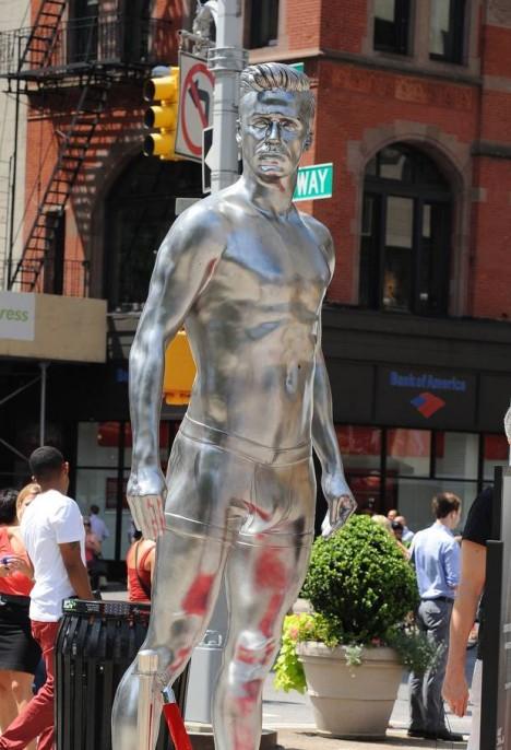Silver David Beckham statue