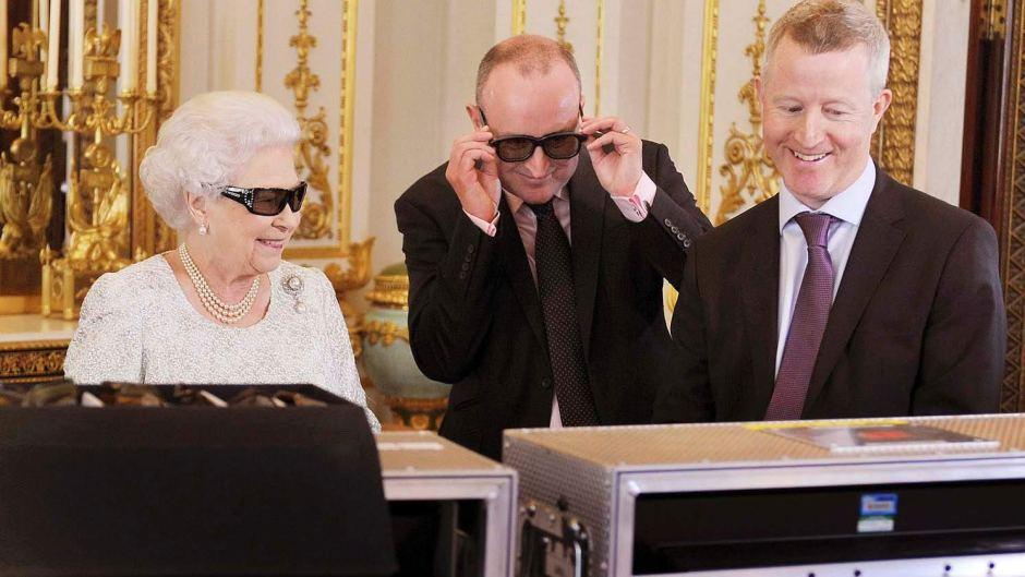 Queen Elizabeth II in her 3D glasses