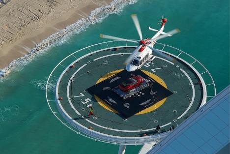 Aston Martin Vanquish Burj Al Arab helipad
