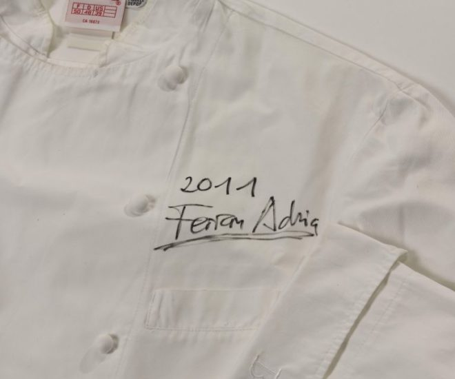 Chef jacket signed by Ferran Adria