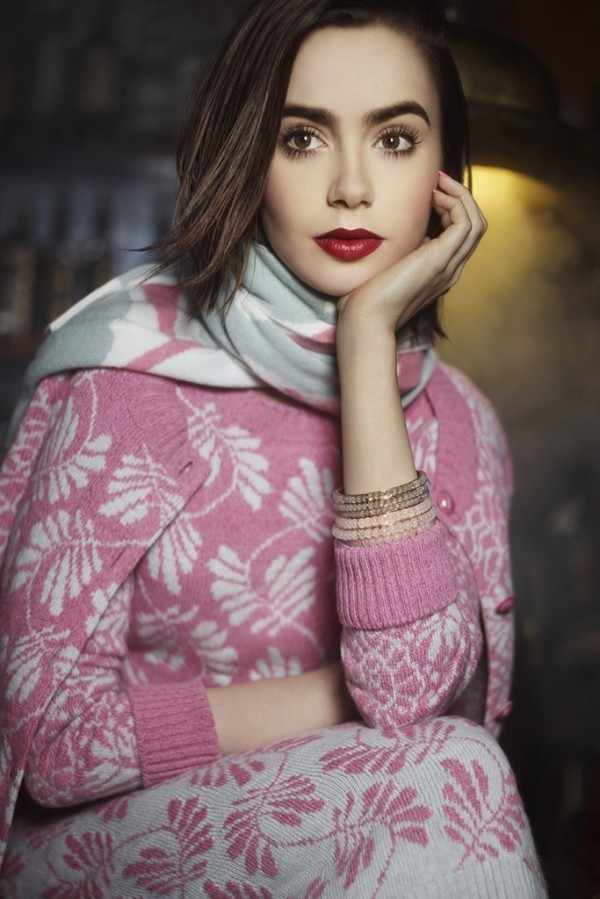 Lily Collins for Barrie Knitwear 2014