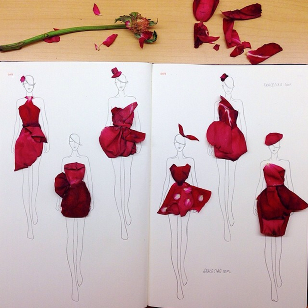 Fashion Illustrations Made From Flower Petals