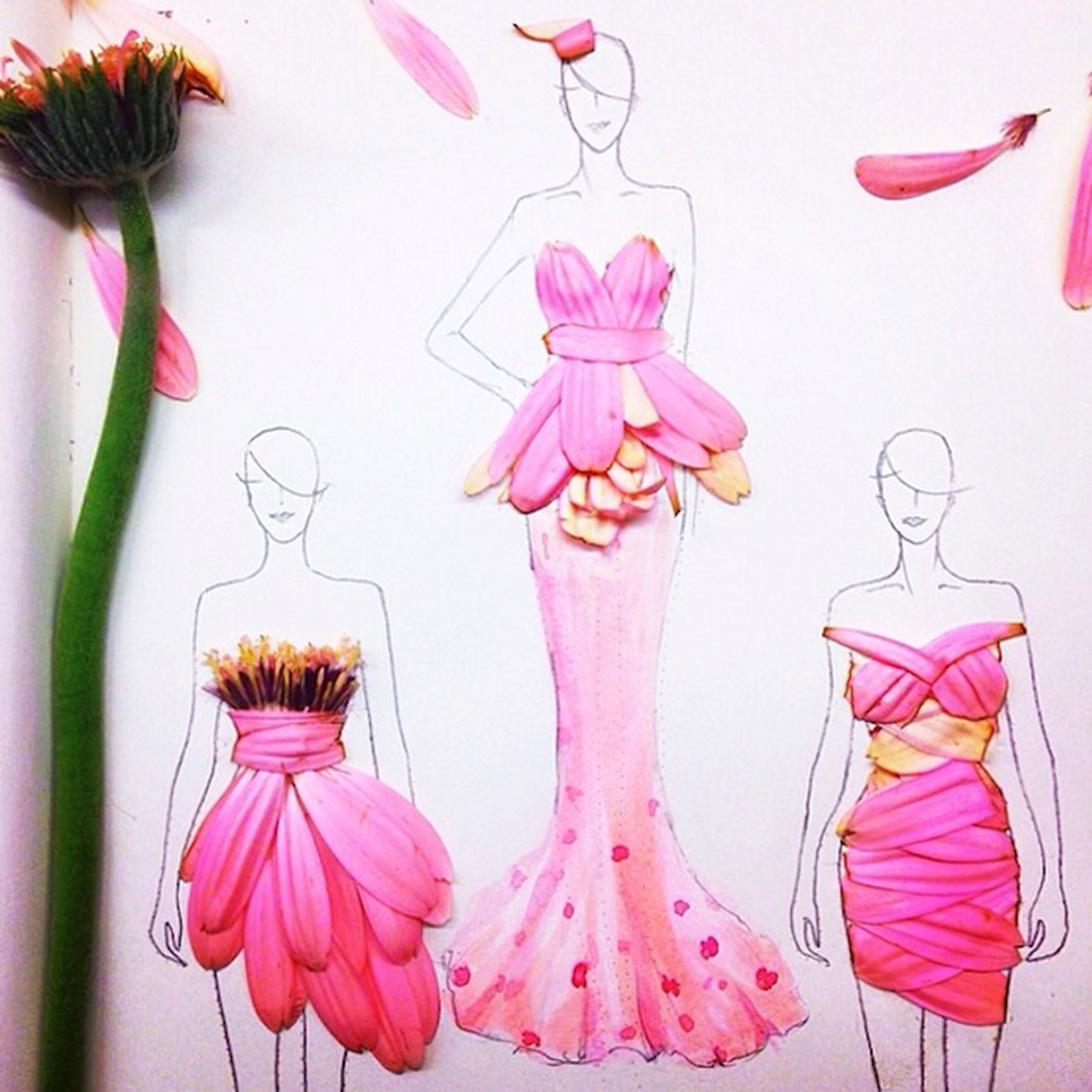 Fashion Illustrations Made From Flower Petals 3