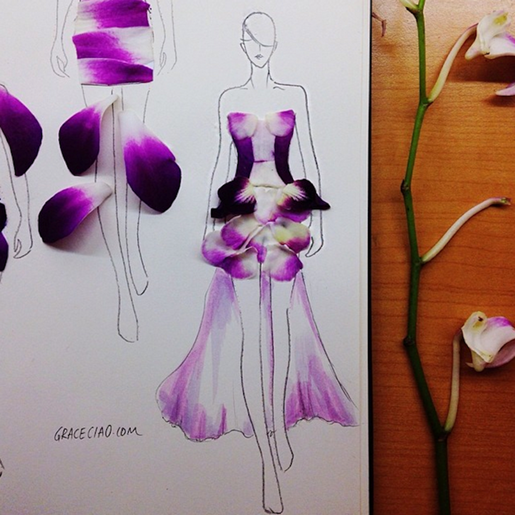 Fashion Illustrations Made From Flower Petals 4
