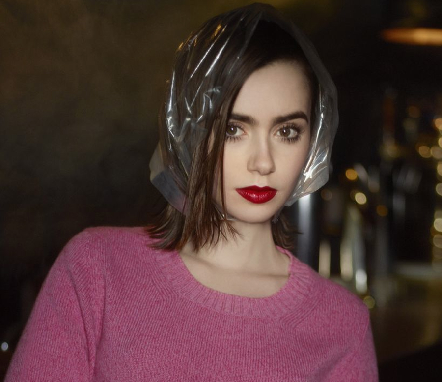 Lily Collins for Barrie Knitwear