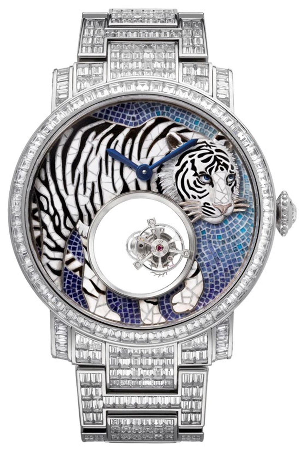 Cartier Rotonde de Cartier, Tiger Deco Stone Mosaic and Miniature Painting