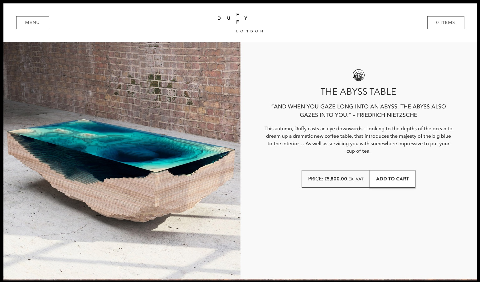 Duffy Londons Abyss Table Evokes Ocean Depths - Coffee table depth