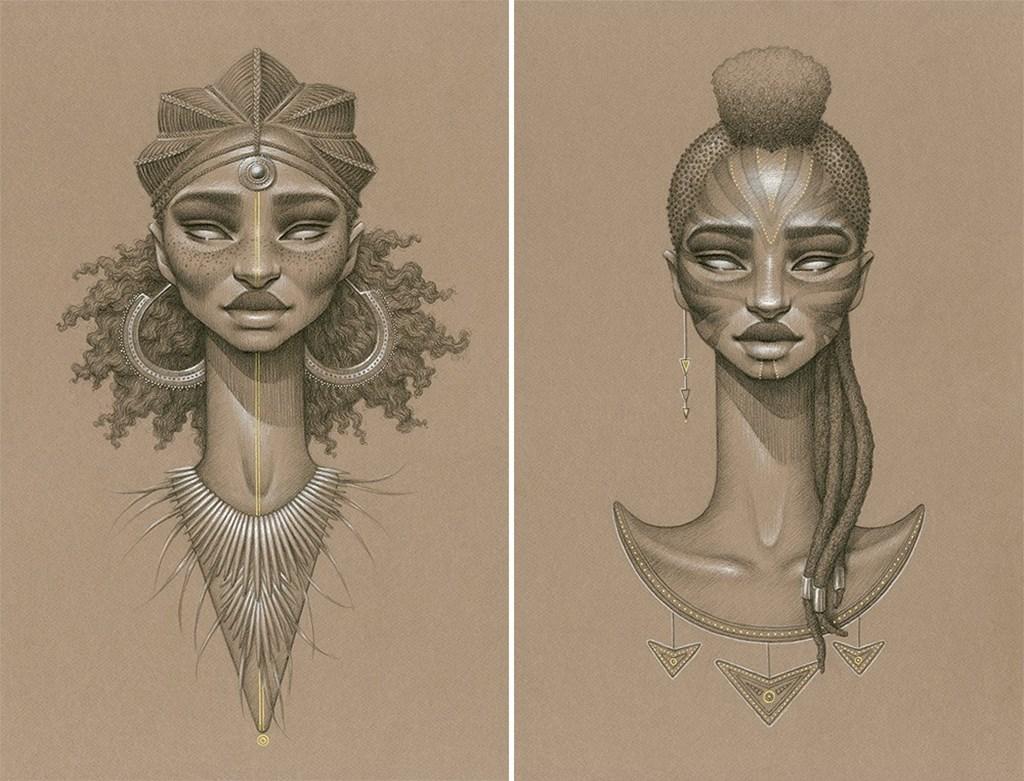 Sundust Striking Charcoal Cont Portraits Of Sun Goddesses By Sara Golish 3