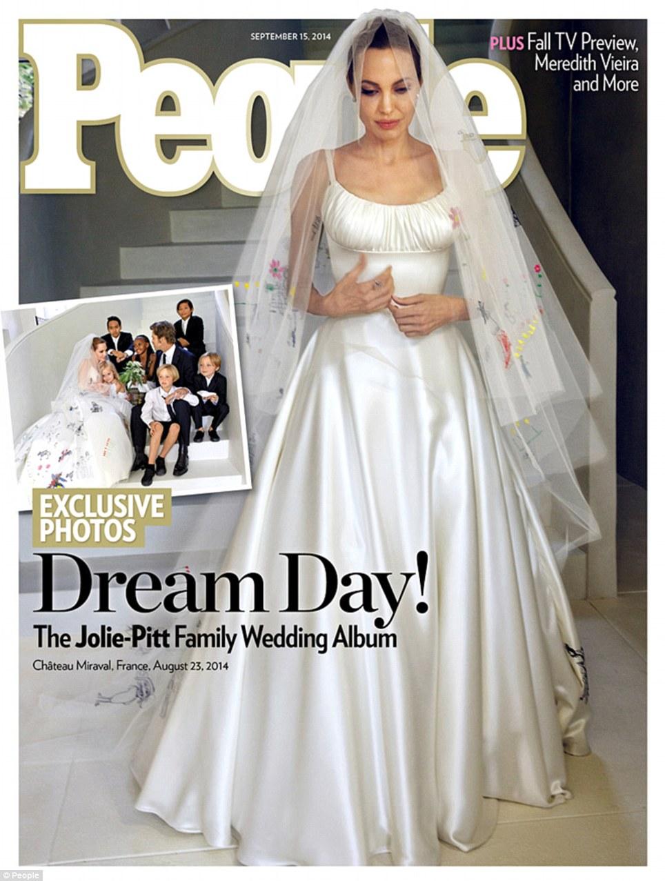 First Look At Angelina Jolie\'s Versace Wedding Dress