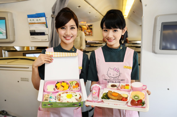 Hello Kitty plane Flight attendants