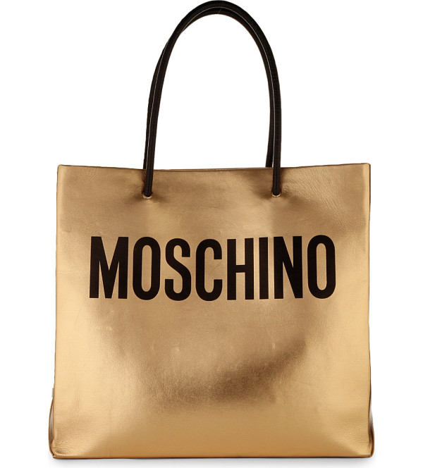Moschino Metallic gold leather tote