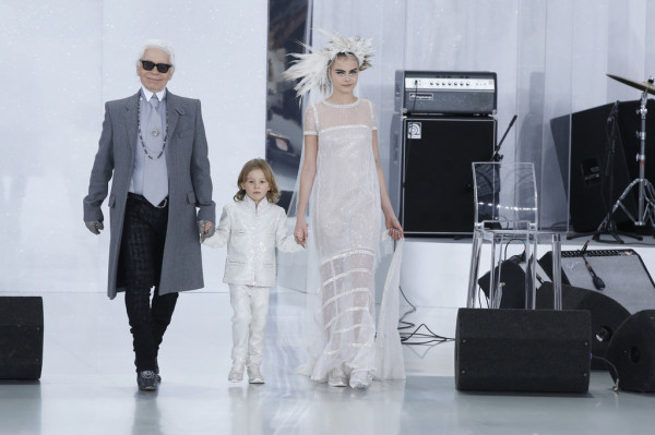 Cara Delevingne and Karl Lagerfeld