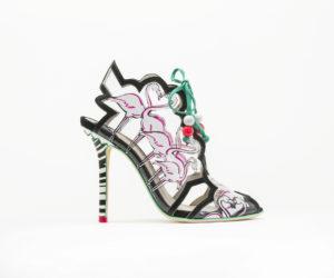 flamingo inspired black vinyl heel