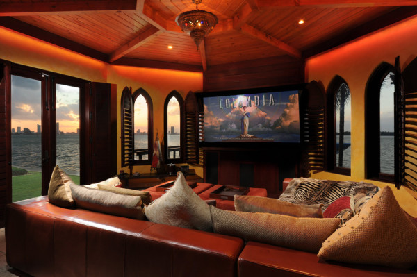 miami beach mansion home theater