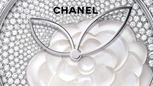 edf745d004b327 A mother-of-pearl camellia watch from Chanel