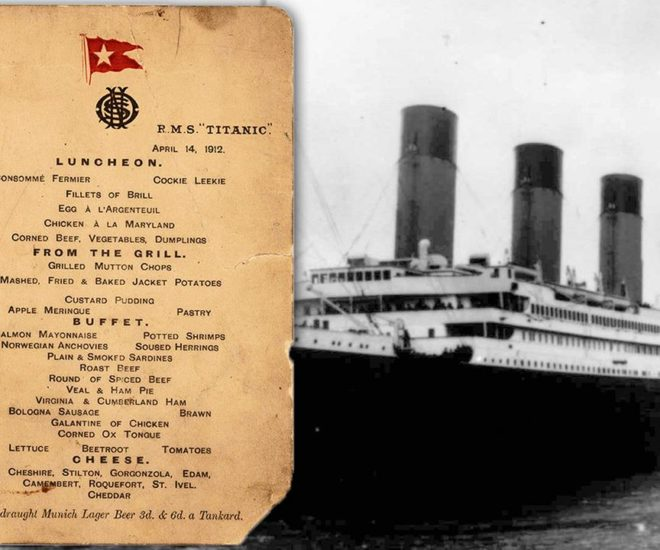Last Titanic lunch menu