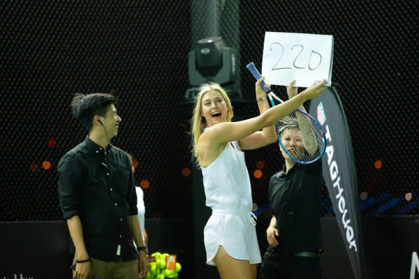 SINGAPORE - OCTOBER 22: Maria Sharapova (C) reacts during the speed serve challenge of the Maria Sharapova Exhibition Match at Clifford Pier, Fullerton Bay Hotel on October 22, 2015 in Singapore. (Photo by Suhaimi Abdullah/Getty Images For TAG Heuer) *** Local Caption *** Maria Sharapova
