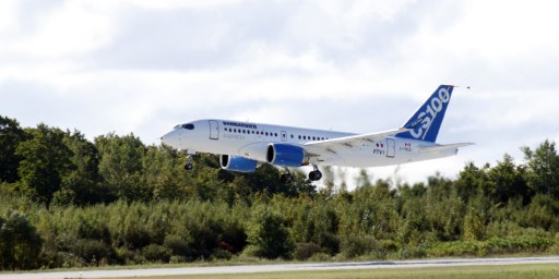 The new bombardier aircraft CSseries is shown in Mirabel, Quebec after take off for the first time on September 16, 2013. Bombardier Inc. carried out final preparations for the maiden flight of its CSeries on September 16, 2013, hoping to translate its ambitions to shatter an Airbus and Boeing duopoly into faster sales of Canada's most ambitious jet. The jet flew from Bombardier's Mirabel factory in Quebec , capping a 5-year $3.4 billion development of the first all-new plane in its class in decades. AFP PHOTO/CLEMENT SABOURIN