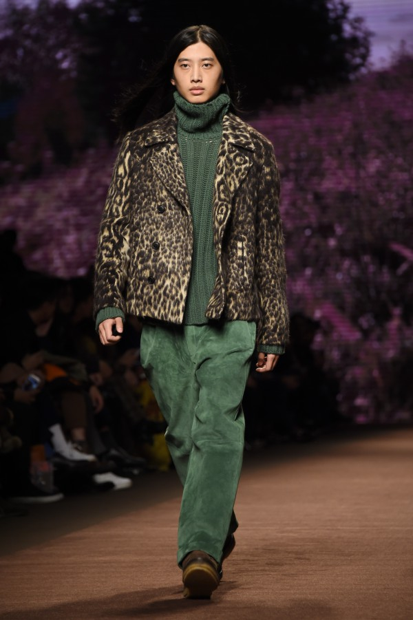 Etro took a walk on the wild side with a leopard-print jacket over this fir green ensemble. AFP Photo