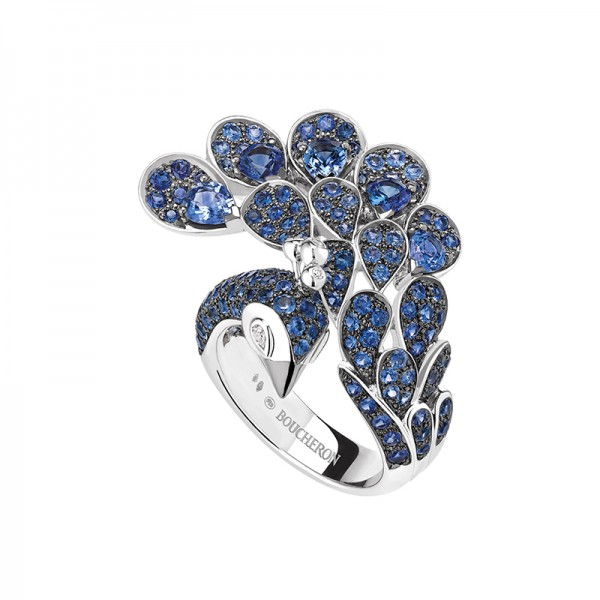 Hera ring in white gold paved with blue sapphires