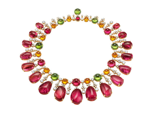 BVLGARI : Diva Costa Smeralda rubelite necklace with amethysts, emeralds, turquoise and diamonds