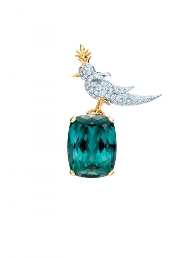 Tiffany & Co. : Jean Schlumberger Bird on a rock chrome tourmaline and diamond brooch