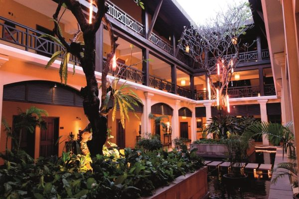 Lobby and inner courtyard of Victoria Hotel; Siem Reap; Cambodia
