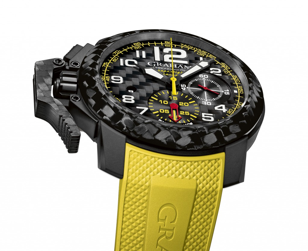 Graham Chronofighter Superlight Carbon with yellow and red chronograph hands