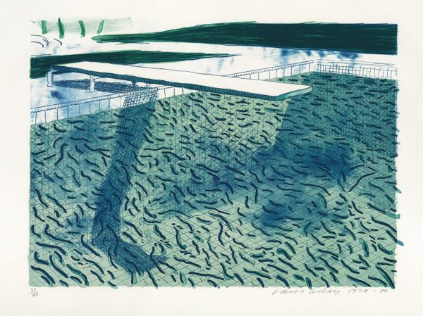 Lithograph of Water made of thick and thin Lines and two light blue Washes (Tokyo 207), David Hockney. Pice realized GBP43,000 in 2012. Image courtesy of Christies