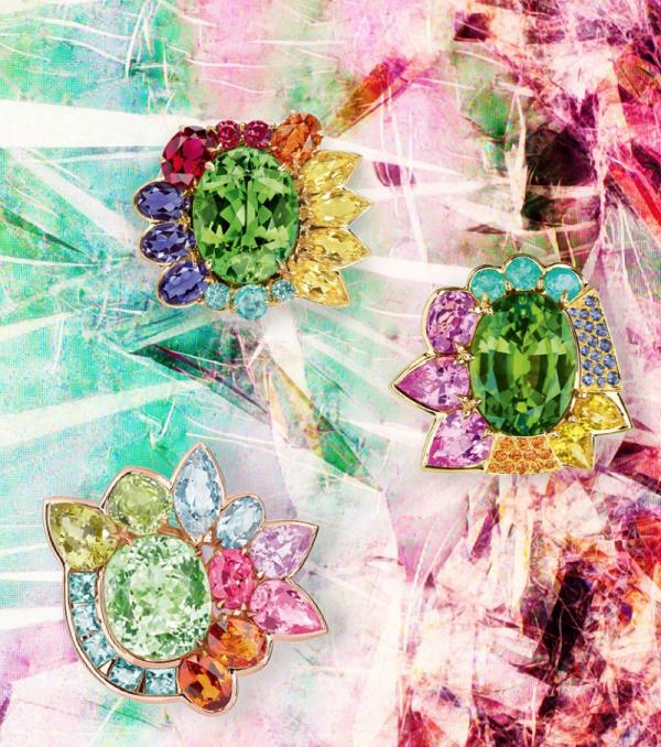 Clockwise: Granville Tourmaline Verte yellow gold ring with beryls, diamonds, iolites, spessartite garnet, red spinels, rubellite and tourmalines, Granville Peridot yellow gold ring with diamonds, mandarin garnets, peridot, sapphires, and tourmalines, and Granville Tourmaline Verte pink gold ring with aquamarines, chrysoberyls, diamonds, pink spinels, spessartite garnets and tourmalines.