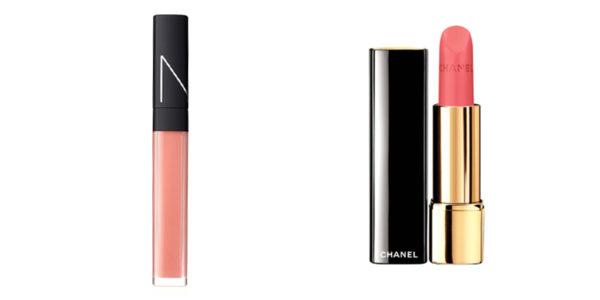 Nars Vida Loca Lip Gloss in Guava (limited edition), $37; Chanel Rouge Allure Velvet in La Delicate, $49.