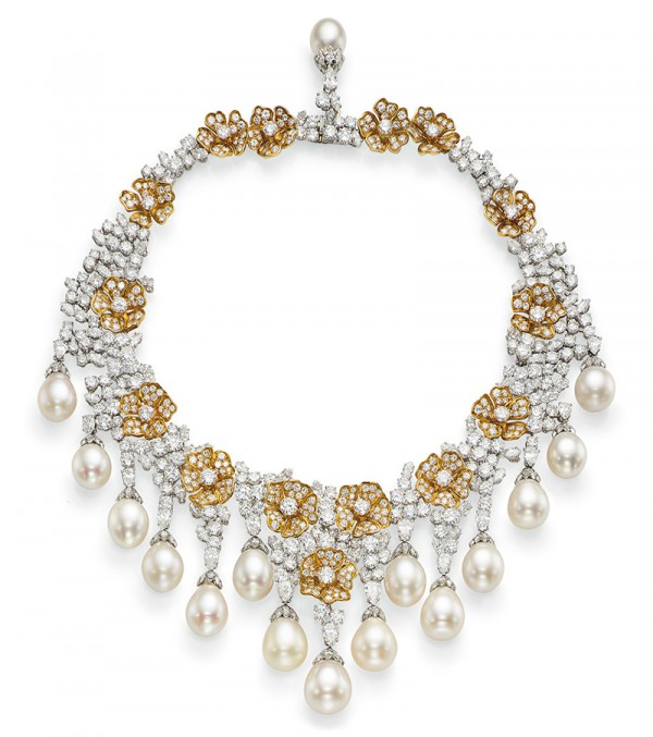 The cultured pearl, diamond and yellow diamond fringe necklace
