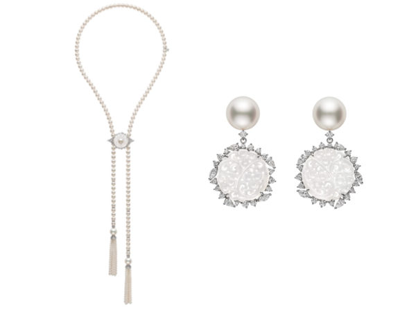 Akoya white south sea pearl necklace with tassels and matching white south sea pearl earrings.