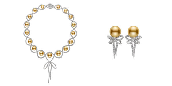 The golden south sea pearl necklace with matching golden south sea pearl earrings.