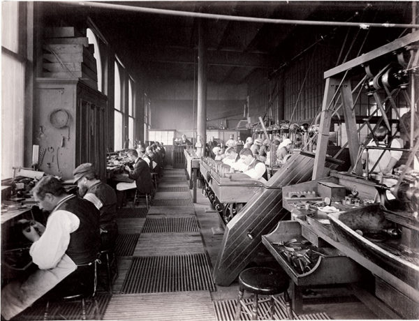 Tiffany & Co.'s jewellery workshop in Union Square, New York in 1874.