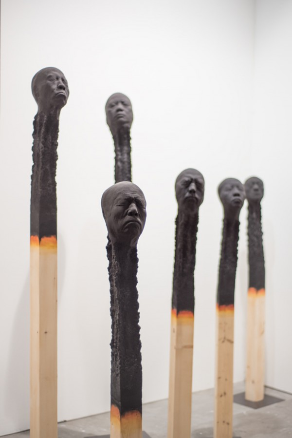 STILLER,-MATCHSTICKMEN,-Wood,polyurethane,gouache-paint,-variable-dimensions