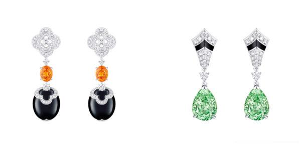 Louis Vuitton's Blossom High Jewelry 2016: Earrings with Mandarin Garnet and Earrings with Merelani Tsavorite