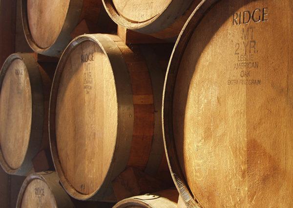 200-litre American Oak barrels from Ridge Vineyards.