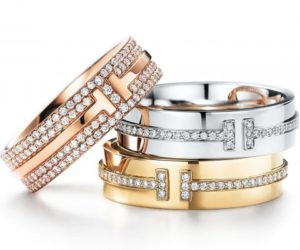 Tiffany T two ring in 18k rose gold white gold with diamonds