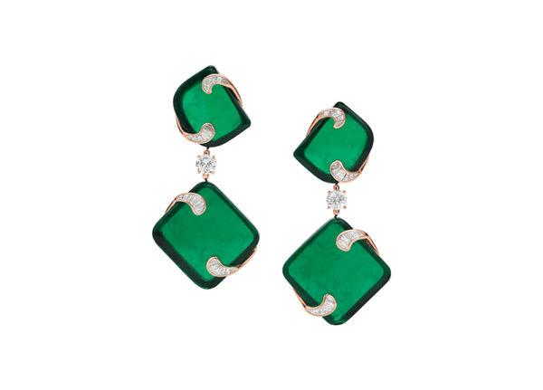 Bulgari Giardini Italiani Hidden treasures earrings, made from four fancy-cut emeralds totalling 143.1-carats carved from a 400-carat raw Zambian emerald