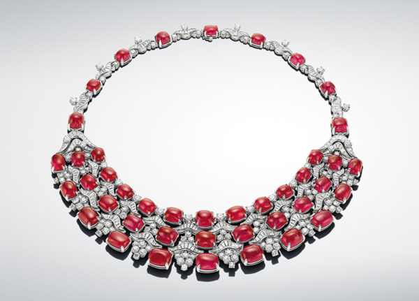 Bulgari's Muse Burmese Song necklace with 215.75 carats of Burmese rubies originally part of an antique necklace from Jaipur