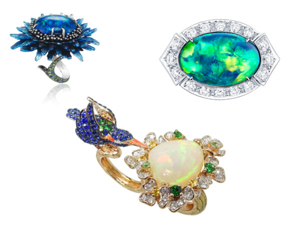 Louis Vuitton Acte V The Escape Capri ring with an Australian black opal; Simone Jewels The Blue Capped Kingfisher with a 6.60-carat Ethiopian opal, along with mandarin, tsavorite and green garnets, chrome tourmalines, blue sapphires, diamonds, and enamel; Chopard Fluers d'Opales ring with a 20-carat black opal, along with tsavorites, sapphires, brown and white diamonds, and lazulites